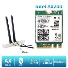 2400 mb/s dwuzakresowy bezprzewodowy dostęp do internetu 6 karta bezprzewodowa Intel AX200 pulpit zestaw Bluetooth 5.1 AX200NGW NGFF M.2 802.11ax Adapter Windows 10