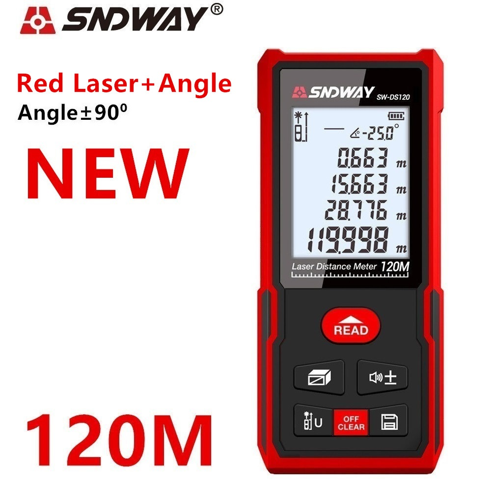 Sndway Laser Rangefinder Distance Meter 40m 50m 70m 100m 120m Electronic Roulette Digital Trena Laser Tape Measure Range Finder
