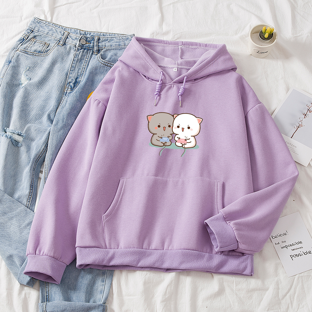Cute Cat Printed Hoodies Women Autumn Loose Sweatshirt Female Itself Harajuku Kawaii Hooded Pullover Thicken Couple Coat 12