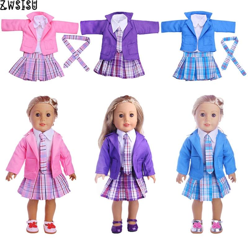 Doll Clothes School Uniform 3 Colors 5 Pcs/Set Tie+T-shirt+Coat+Skirt+Shoes For 18 Inch American&43 Cm Born Doll Girl Generation