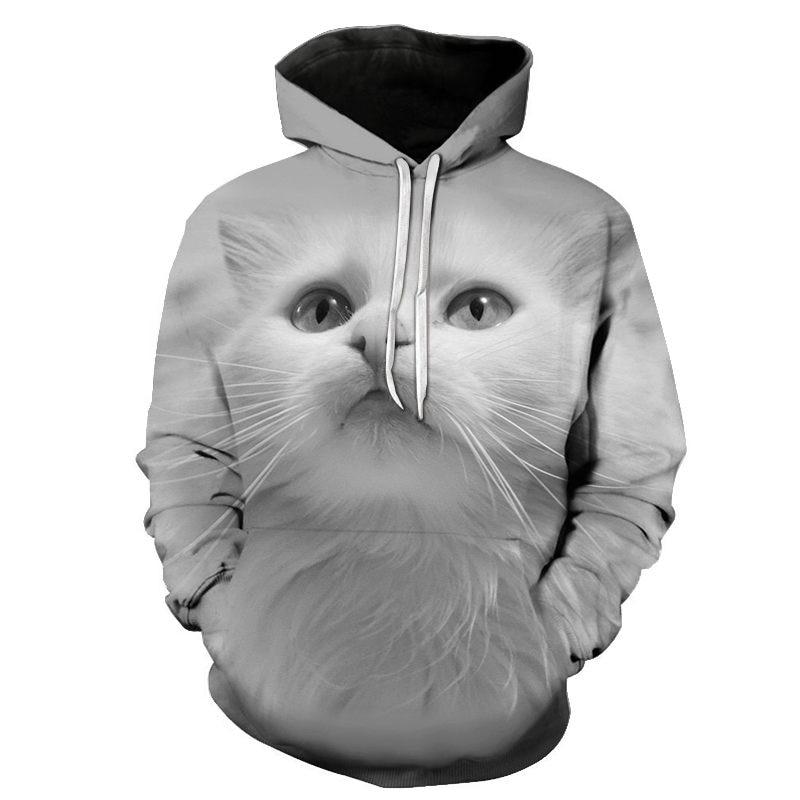 Women's Two Cat Sweatshirts Long Sleeve 3D Hoodies Sweatshirt Pullover Tops Blouse Pullover Hoodie Poleron mujer Confidante Tops 93