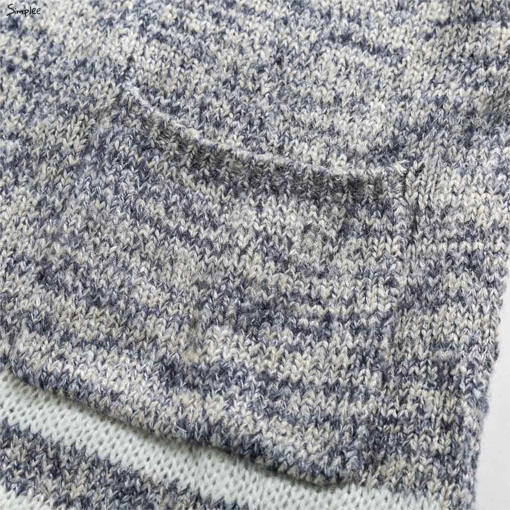 Simplee с капюшоном вязаный свитер кардиган женские, с расклешенным рукавом свободный полосатый джемпер Новый 2017 Повседневный осенне-зимний свитер женский