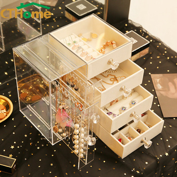 Drawer Type Plastic Storage Box Transparent Finishing Makeup Organizer Jewerly Earrings Display Stand Rack Necklace Bracelet drawer makeup organizer cosmetics storage box organizador maquillaje transparent plastic box lipstick jewelry display stand