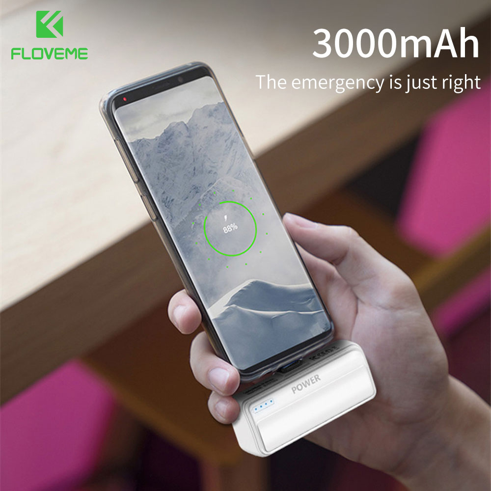 FLOVEME <font><b>3000mAH</b></font> Pocket Mini <font><b>Power</b></font> <font><b>Bank</b></font> for <font><b>Xiaomi</b></font> Mi Portable External Battery Charger for iPhone Type C Poverbank Carriage Plug image