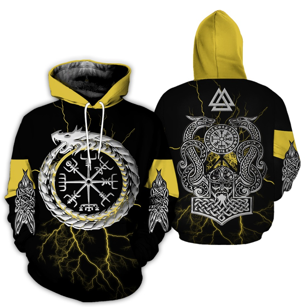 2019 Hot Sale New Fashion Viking Tattoo Hoodie 3D Printed Viking Yellow Sweatshirt Unisex Harajuku Streetwear Sudadera Hombre