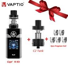 """Vaptio Captn Kit de vapeo 220w, cigarrillo electrónico antifugas, caja de pantalla de 1,3 """", atomizador de 2ML, 4ML, 0.005s, sabor de varios modos"""