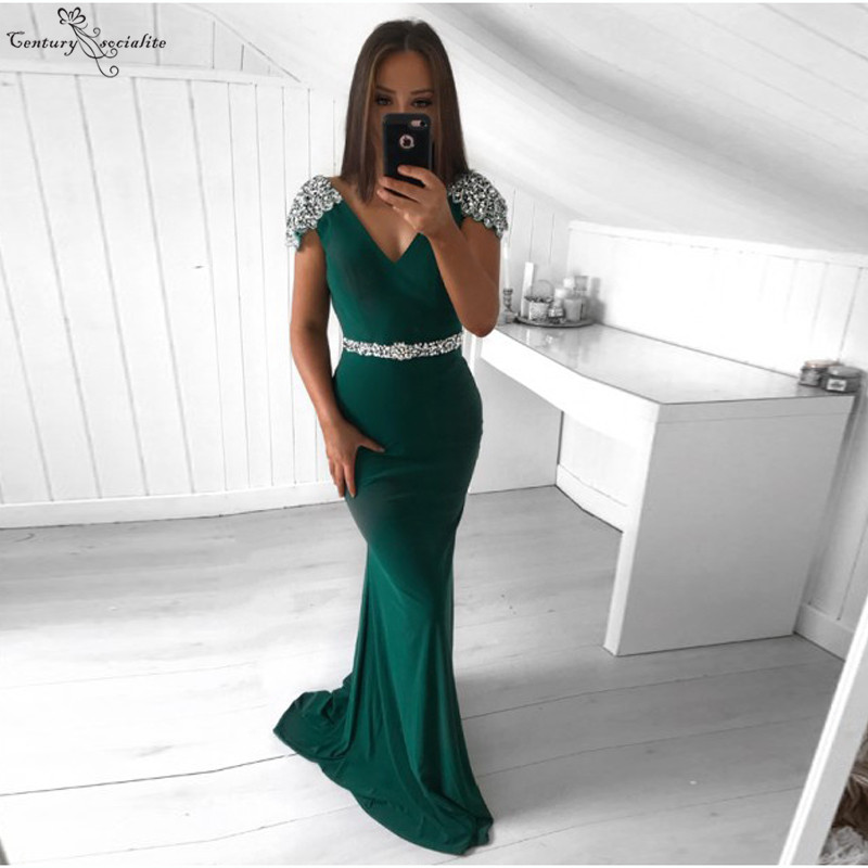 Dark Green Mermaid Evening Dresses 2020 Beaded Sequins Cap Sleeves Zipper Long Formal Gowns Prom Dresses Robe De Soiree