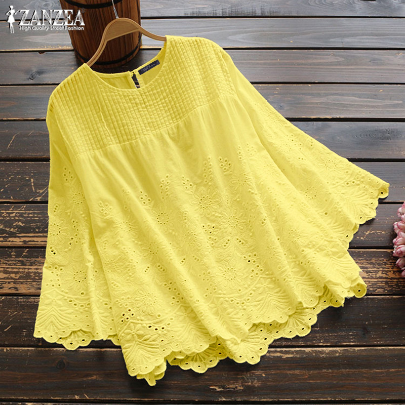 Women's Autumn Blouse 2019 ZANZEA Elegant Lace Tops Casual Pleated Blusas Female Hollow 3/4 Sleeve Shirts Plus Size Tunic 5XL