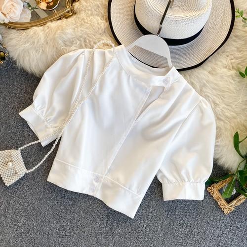 Women's Hollow Short Puff Sleeve Short Crop Tops Lady Round Neck Sexy Shirt  Camisas Mujer  Blusas Mujer De Moda Blouse K693 7