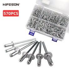 HIFESON 570PCS Rivet Gun Aluminum Core Pull Rivet Decoration Nail 3.2*8/10/12 4.0*10/12/14 5.0*14 for Furniture Assortment Kit