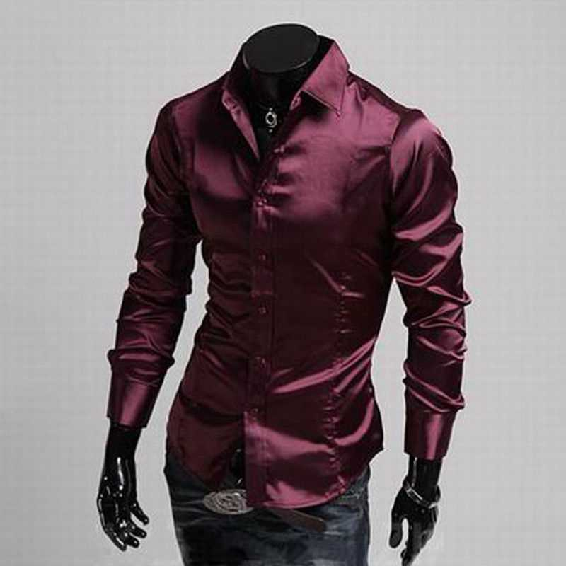 Fashion Shiny Silky Satin Dress Shirt Luxury Silk Like Mens Casual Shirts Silk-Satin Men Long Sleeve Slim Fit Dress Shirts