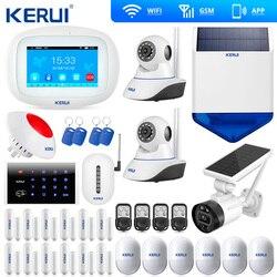 Kerui K52 grand écran tactile WIFI GSM système d'alarme TFT affichage système d'alarme à la maison sécurité caméra solaire sirène caméra solaire
