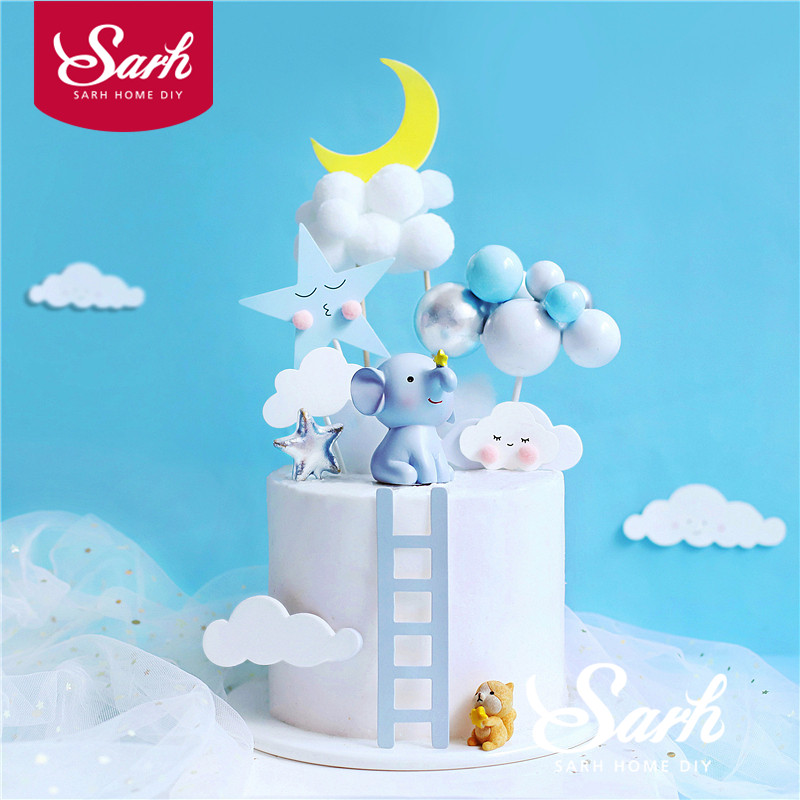 Слон, белка, синий большой шар, топпер для торта, украшение на день рождения, свадебные принадлежности, детский душ, выпечка, десерт, подарок ...