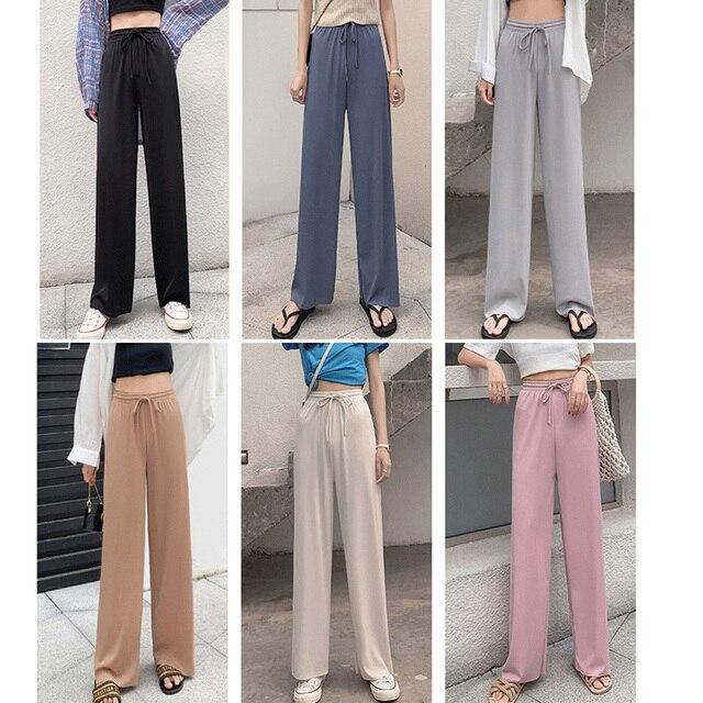 2021 New Women's Loose Summer Pants Soft Ice Silk Ankle-Length Wide Leg Pants Grey Khaki Women High Waisted long Trousers 2