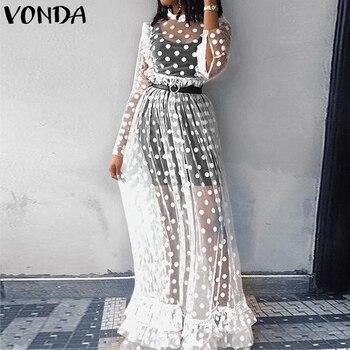 VONDA Holiday Lace Dress Bohemian Women Vintage Dot Print Hollow Floor-Length Dress 2019 Sexy Party Vestido Robe Femme Plus Size 1