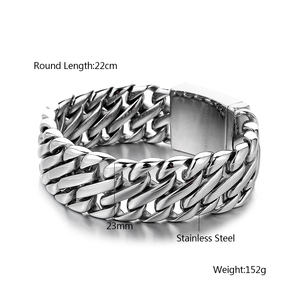 Image 5 - Double Curb Cuban Chain Bracelet Mens 316L Stainless Steel Wristband Bangle Silver color Tone 23mm Buddha Bracelet with Logo