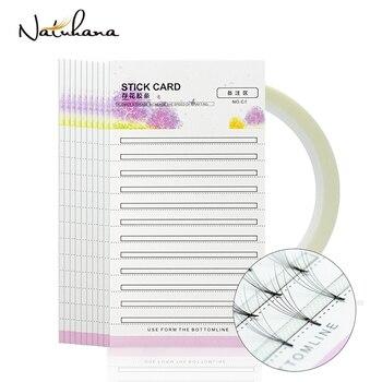 NATUHANA Eyelash Extension Storage Card Premade Fans Volume Lash Storage 2mm Sticky Strip False Eyelashes Paper Card Makeup Tool 1