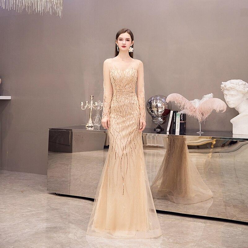 Потрясающие вечерние платья, сексуальное, с открытой спиной, вышитое бисером, вечерние платья русалки для помолвки, с длинными рукавами