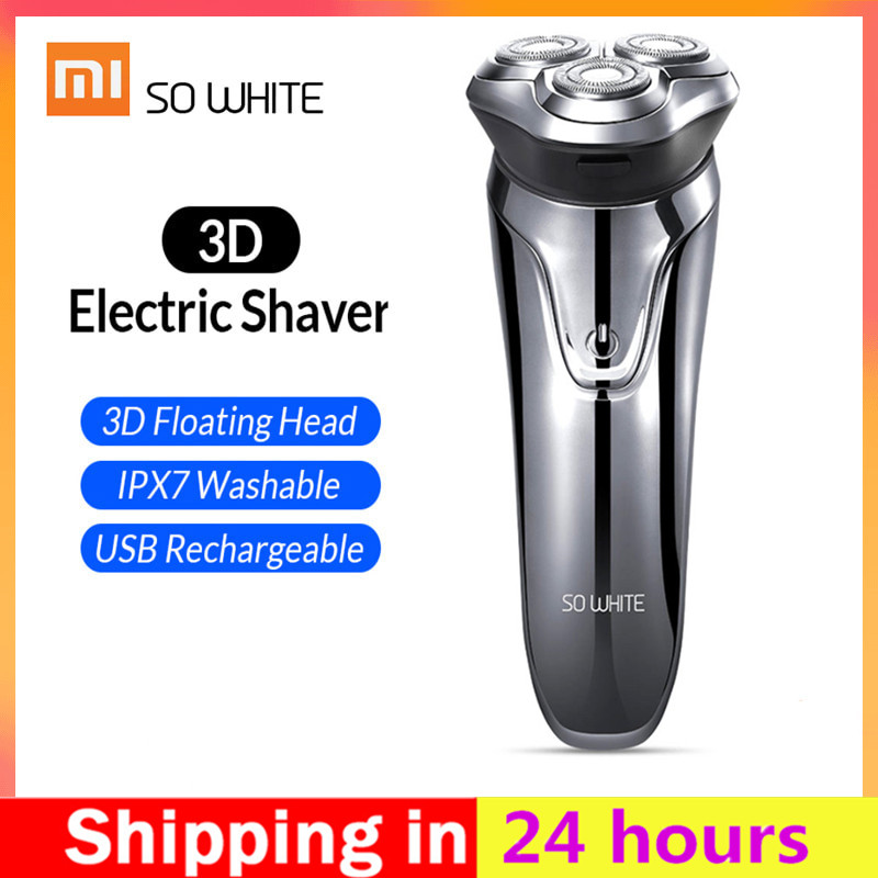 Xiaomi SO WHITE ES03 Electric Shave Razor Dry Wet Shaving Washable Mode 3D Smart Control Shaving Beard Machine Shaver-in Electric Shavers from Home Appliances