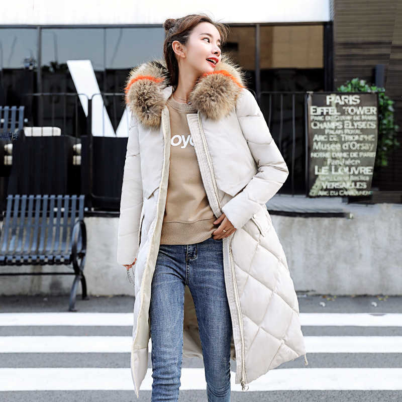 KMVEXO 2019 Winter Met Grote Bontkraag Warm Thicken Solid Jacket Vrouwen Lange Down Katoenen Parka Vrouwelijke Hooded Uitloper