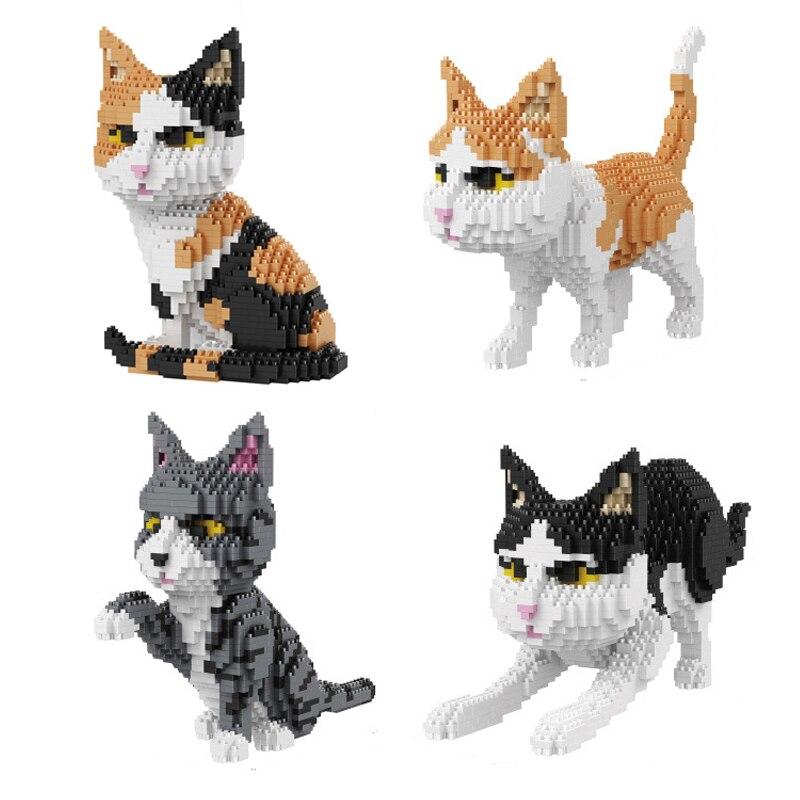 Balody Cute Cartoon Cat Building Blocks Diamond bricks black cat Model educational toys kids Girl gifts