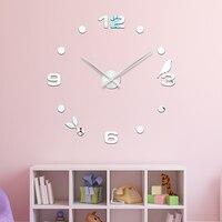 Grande 48 polegada Moderna DIY Gato Preto Pássaro Muro Orologio Quartzo Relógios de Parede Home Decor Sala de estar Relógio de Parede Criativa livre de Shipping