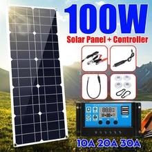 100w 1 monocrystalinesolar painel duplo 12v/5v dc carregador usb kit com 10a solar controlador & cabos
