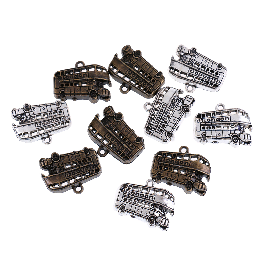 10 Pieces Bus Charms Retro Alloy Double Decker Bus Pendants//Charms 25x19mm
