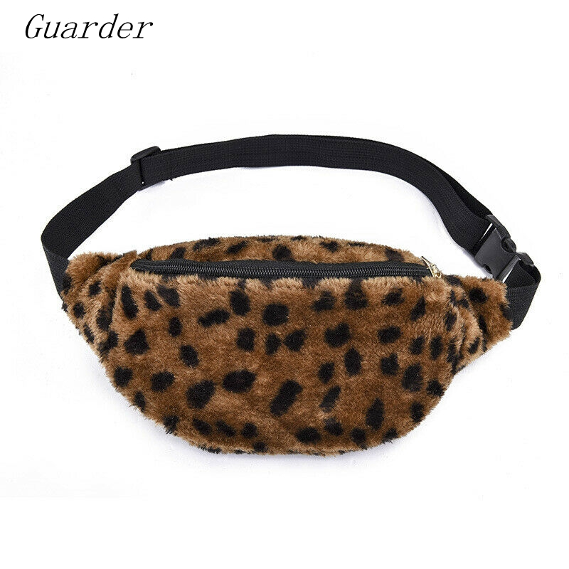 Guarder Plush Women Waist Fanny Pack  Ladies Chest Bum Bag Zip Pouch Travel Beach Hip Purse Hairy Sweet Lady Leopard GUA0022