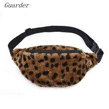 Guarder Plush Women Waist Fanny Pack  Ladies Chest Bum Bag Zip Pouch Travel Beach Hip Purse Hairy Sweet Lady Leopard Bag GUA0022 недорого
