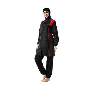 Image 3 - YONGSEN Mulheres Muçulmanos Swimwear Calças Encapuzados Burkinis Maiô Terno Esporte Moda Islâmica Hijab Três peça Elegante Beachwear
