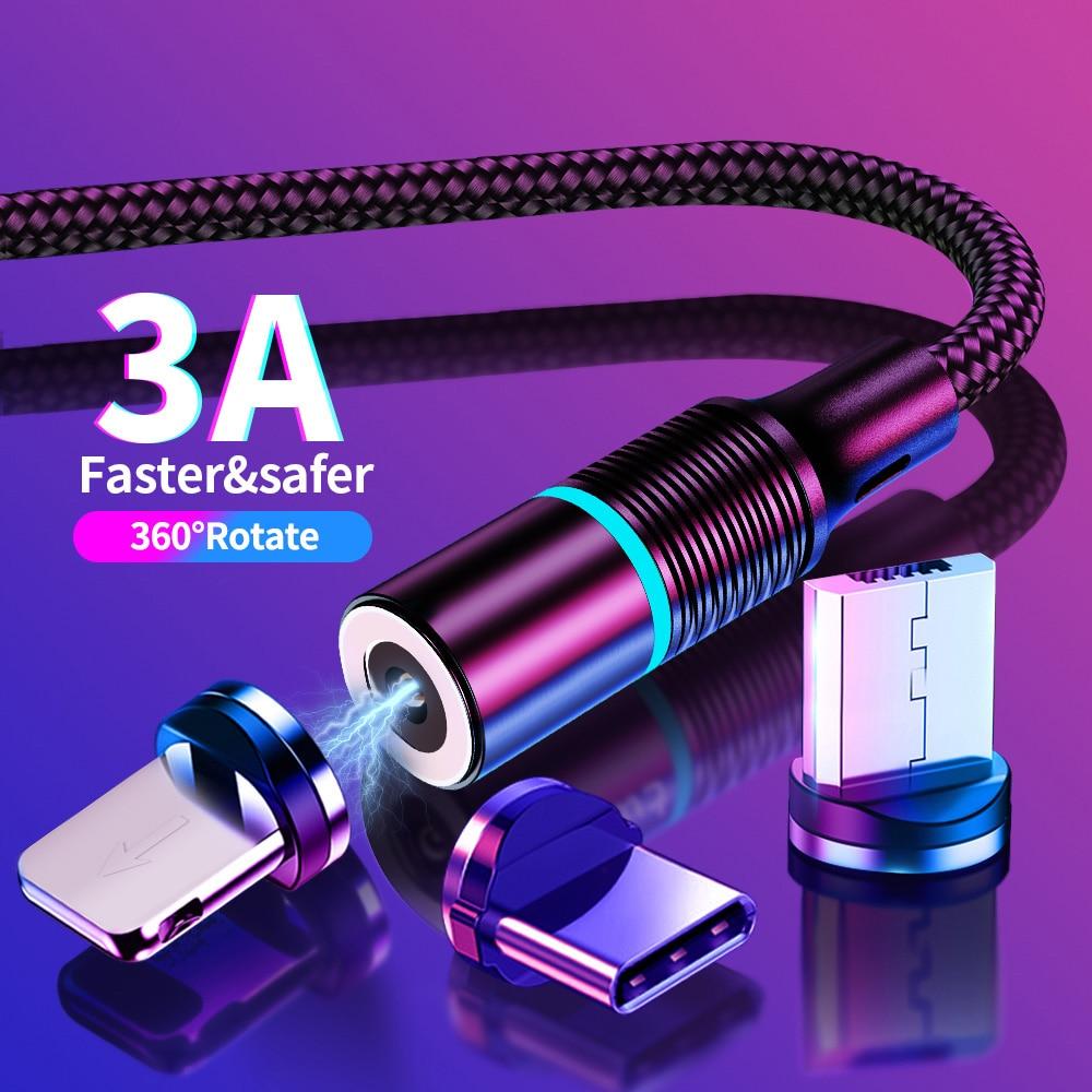 Магнитный кабель Micro USB типа C светодиодный кабель для быстрой зарядки USB C для iPhone 11 pro samsung S8 S9 huawei P30 Магнитный кабель Microusb 1 м