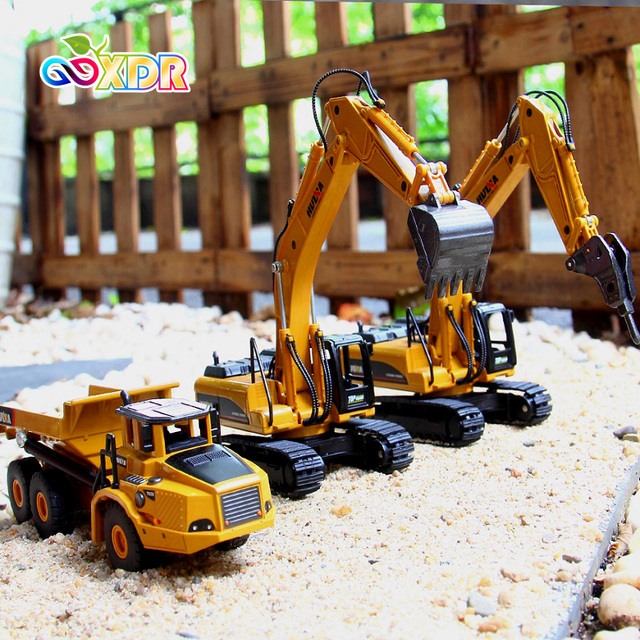 1:50 Metal Alloy Diecast Toy Excavator Truck Model Autotruck Car Model Toys For Boys Navvy Engineering Truck Collection Toys 1