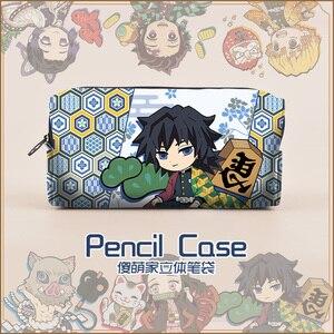 Image 2 - Kimetsu No Yaiba Demon Slayer Kamado Tanjirou Nezuko Cosplay Pen Pencil Case Cosmetic Makeup stationery Bag Gift