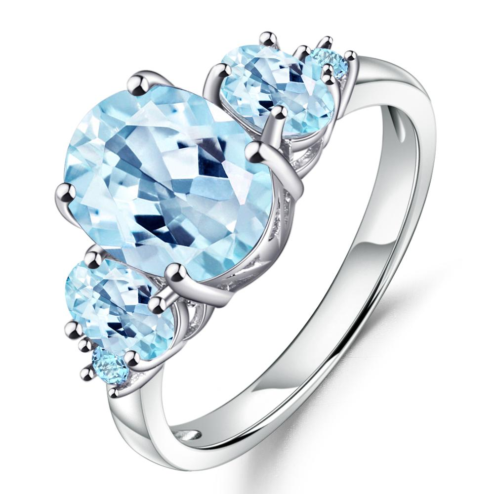 GEM'S BALLET 4.77Ct Oval Natural Sky Blue Topaz Gemstone Ring 100% 925 Sterling Silver Rings for Women Wedding Fine Jewelry