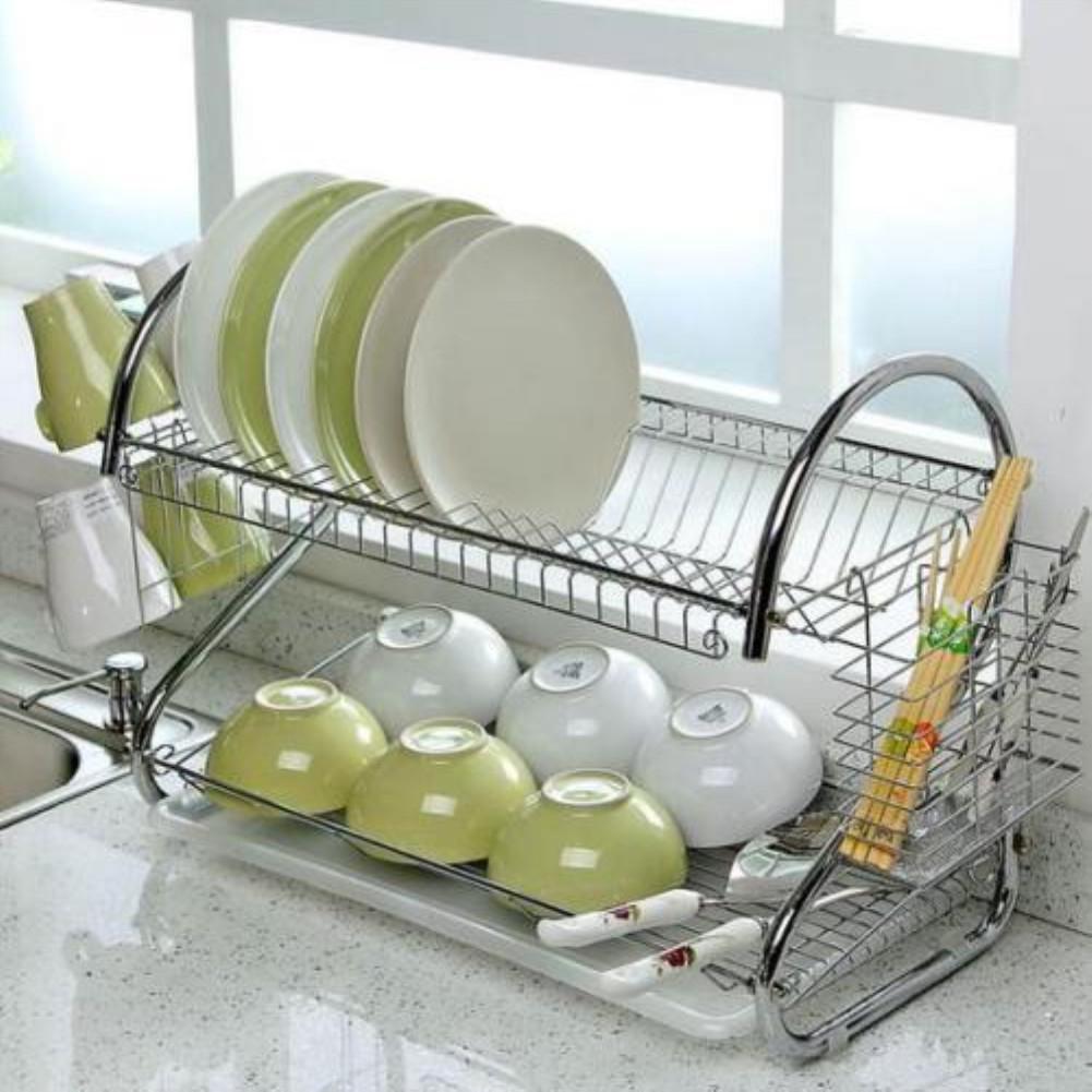 2 Tier Dish Drainer Rack Storage Drip Tray Sink Drying Draining Plate Purple New