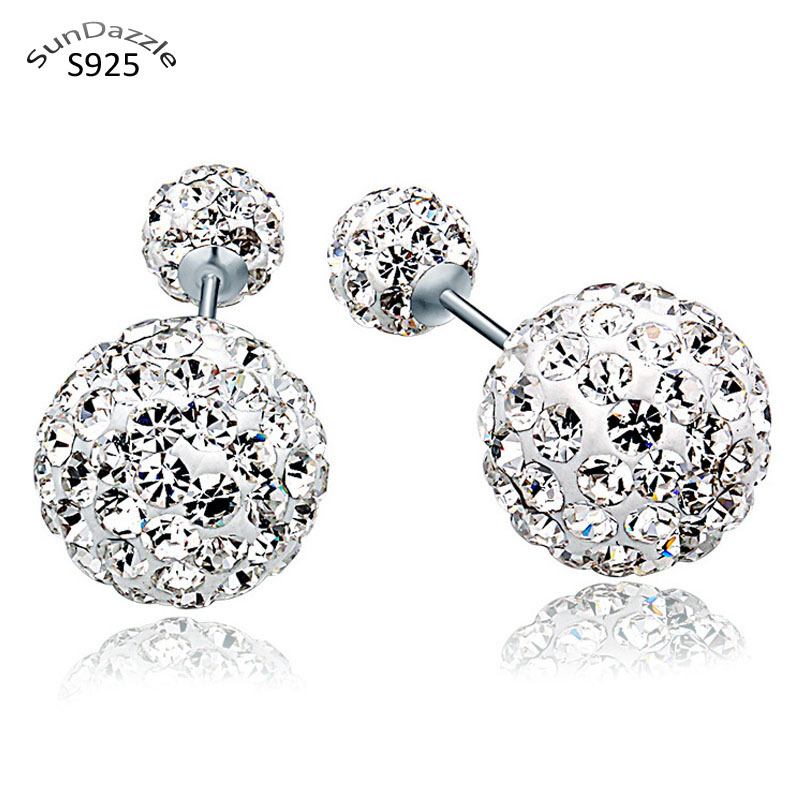 Real Pure Solid 925 Sterling Silver Stud Earrings for Women Jewelry Double Sided Crystal Ball Cubic Zircon Female Earrings Charm(China)