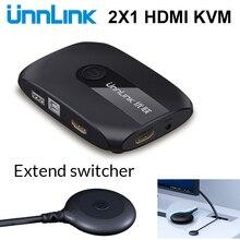 Unnlink 2 יציאות HDMI KVM מתג עם Extender 4K 1080P USB2.0 שיתוף מדפסת צג מקלדת עכבר עבור 2 מחשבים מחשבים ניידים ps4