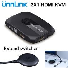 Unnlink 2 منافذ HDMI مفتاح ماكينة افتراضية معتمدة على النواة مع موسع 4K 1080P USB2.0 تقاسم شاشة طابعة ماوس لوحة المفاتيح ل 2 أجهزة الكمبيوتر المحمولة ps4