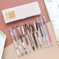 11 unids/set estilo Simple pluma, conjunto de lápiz transparente Neutral pluma de prensa Original Gel plumas papelería de oficina conjunto kawaii