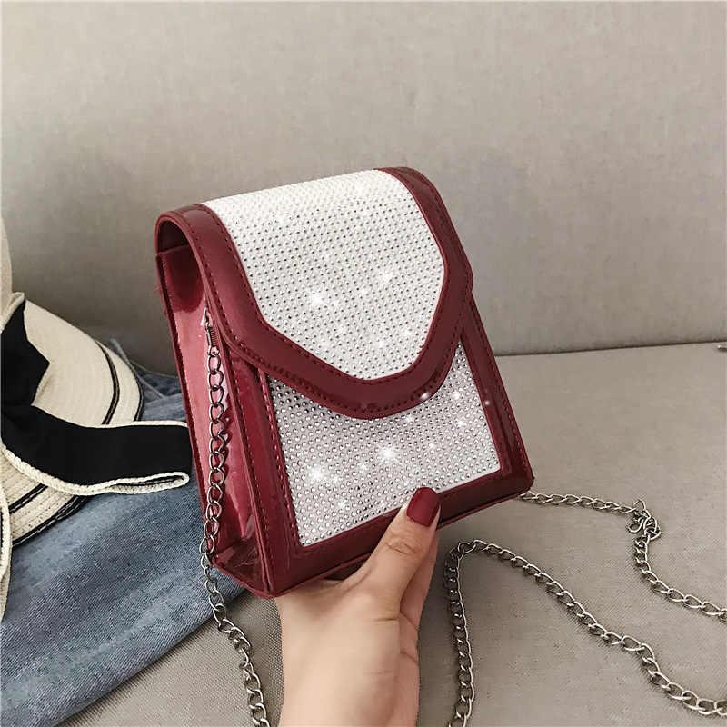 Женская квадратная сумка YL со стразами, зимняя модная качественная сумка из искусственной кожи для телефона, женская дизайнерская сумка на цепочке, сумки-мессенджеры на плечо, 2020