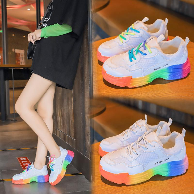 CINESSD Mesh Breathable Casual Shoes Women Sneakers 2020 New Platform Sneakers Women Fashion Med Heel Rainbow Summer Shoes Woman