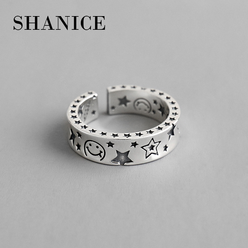 925-Sterling-Silver Ring Opening Wedding-Gift Girl Retro Simple-Design Woman Old Smile-Star