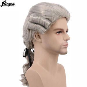 Image 3 - Ebingoo Grey Black White Lawyer Judge Baroque Curly Male Costume Wigs Deluxe Historical Long Synthetic Cosplay Wig for Halloween