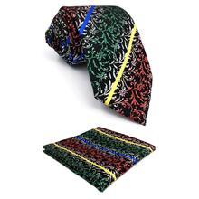 F28 Geometric Multicolor Ties for Men Necktie Set Silk Extra long Pocket Square