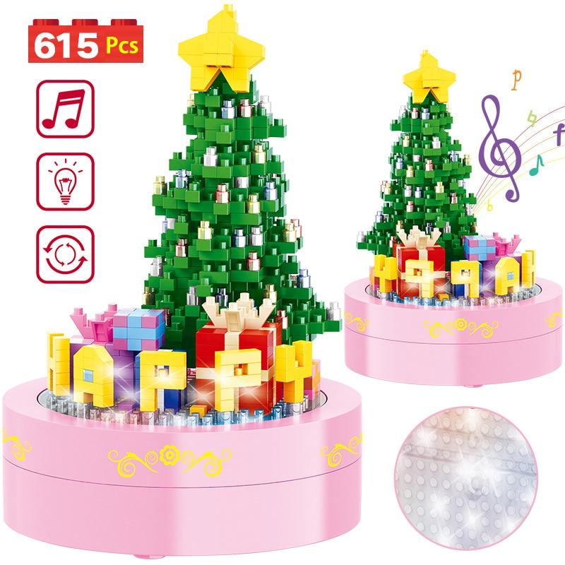 615PCS Mini Bricks Santa Claus Xmas Tree Snowman DIY Building Blocks Music Box With Lights Toys For Children Christmas Gifts