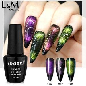 Image 1 - 12pcs ibdgel black bottle 15ML Lot Set chameleon 9D Cat Eyes Gel magic Magnetic Gel Nails Shining and Changeable UV led soak off