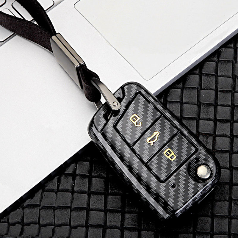 ABS Carbon fiber car key case For VW Golf Bora Jetta POLO GOLF 7MK7 Passat Skoda Octavia Combi A7 A5 Fabia SEAT Ibiza Leon CUPTR