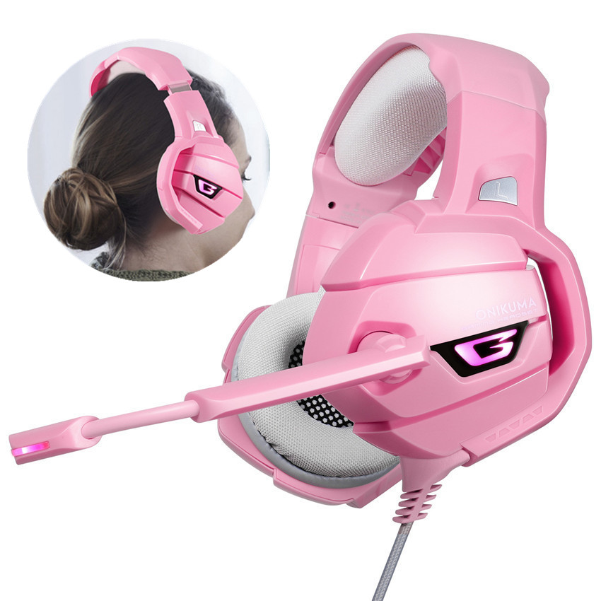 ONIKUMA K5 PS4 Gaming Headset Pink Surround Sound Bass PC Headphones With Mic LED Light For Xbox One/Phone/Laptop Tablet Gamer