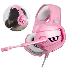 ONIKUMA K5 PS4 Gaming Headset Pink Surround Sound Bass PC Headphones with Mic LED Light for Xbox One/Phone/Laptop Tablet Gamer sades r3 gaming headset 3 5mm bass surround sound headphones with y adapter for ps4 xbox one pc phone